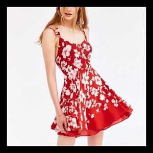 Kimchi Blue Fit n Flare Red Floral Dress UO